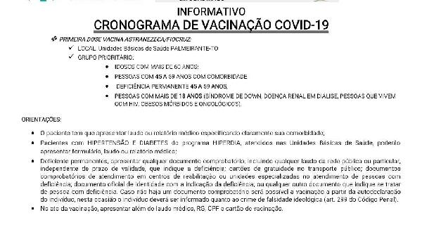 INFORMATIVO CRONOGRAMA  DE VACINAÇÃO COVID-19